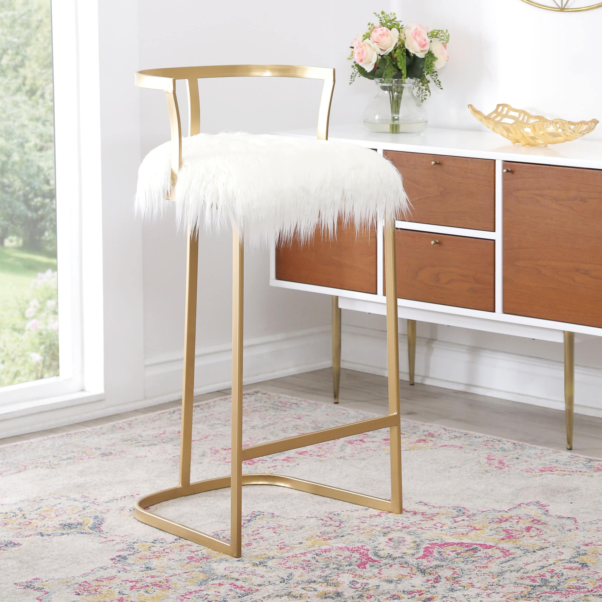 new arrival 2c2f9 68f82 Abbyson Zoe White Faux Fur 30-in Bar Stool