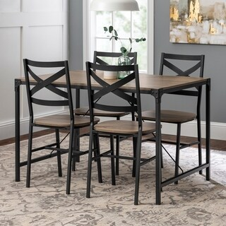 5-Piece Angle Iron Driftwood Dining Set