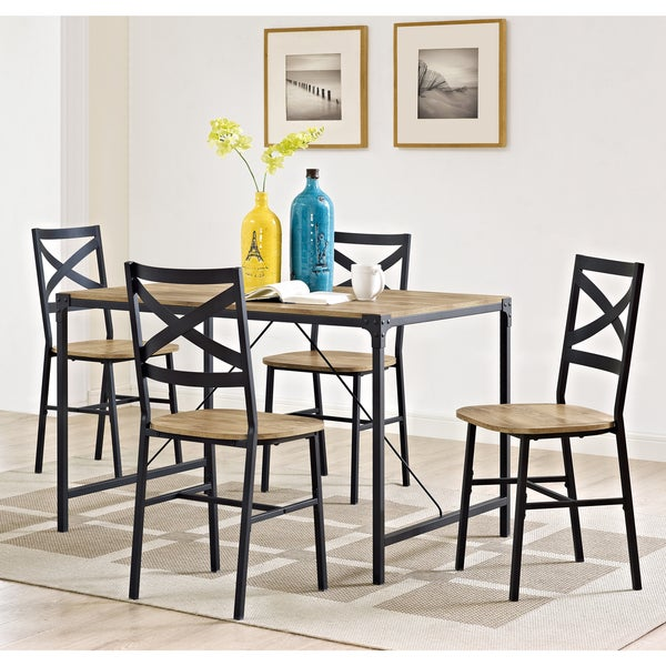 5 Piece Angle Iron Barnwood Dining Set