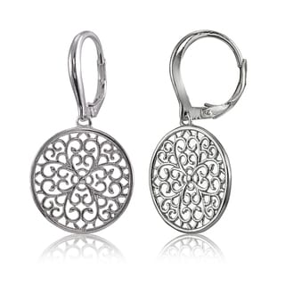Mondevio Sterling Silver High Polished Medallion Filigree Leverback Earrings (Option: Pink)