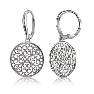 Mondevio Sterling Silver High Polished Medallion Filigree Leverback Earrings