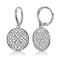 Mondevio Sterling Silver High Polished Medallion Filigree Leverback Earrings