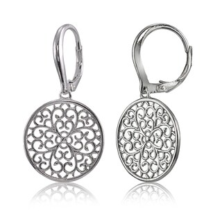 Mondevio Sterling Silver High Polished Medallion Filigree Leverback Earrings (Option: Gold Plate - Pink)