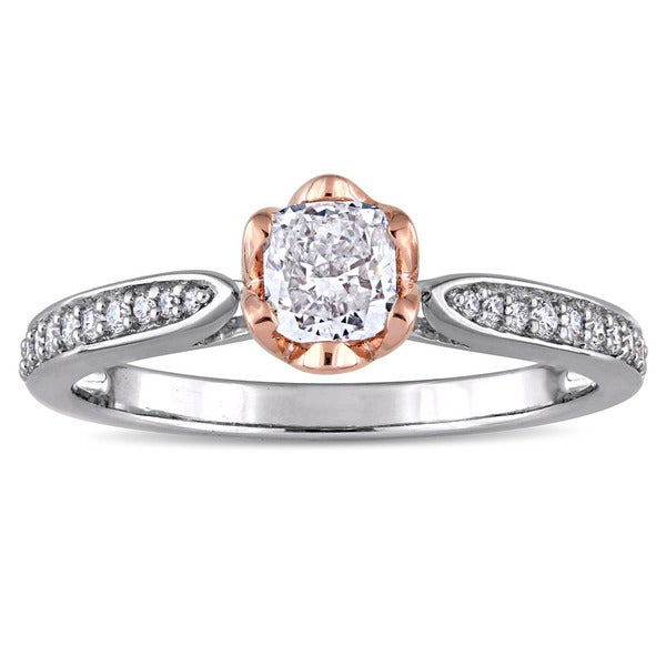 Miadora Signature Collection 2-Tone 14k White and Rose Gold 5/8ct TDW Diamond Flower Halo Engagement