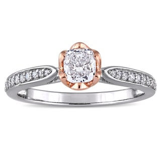 Miadora Signature Collection 2-Tone 14k White and Rose Gold 5/8ct TDW Diamond Flower Halo Engagement Ring (G-H, I1-I2)