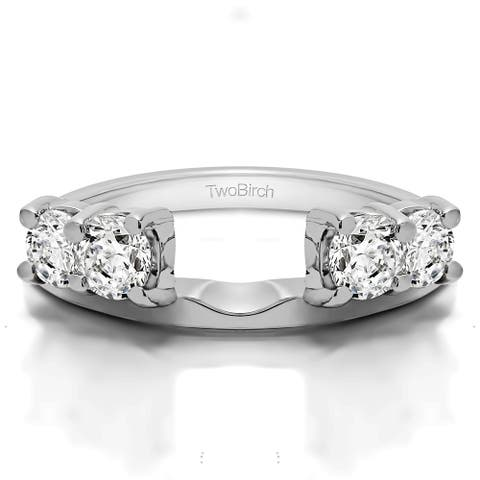 10k White Gold Traditional Style Ring Wrap Enhancer With Cubic Zirconia (1 Cts.)