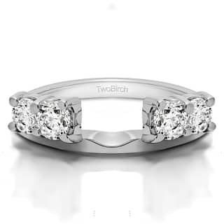 10k White Gold Traditional Style Ring Wrap Enhancer With Cubic Zirconia 1 Cts