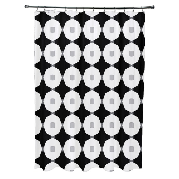 Button Up Geometric Print Shower Curtain