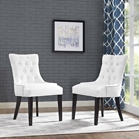 Regent White Vinyl/Rubberwood Dining Chairs (Set of 2) - N/A
