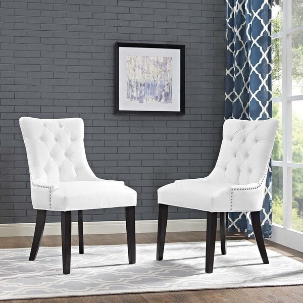 Shop Regent White Vinyl Rubberwood Dining Chairs Set Of 2
