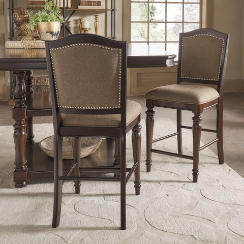 LaSalle Espresso Nail Head Accent Counter Chairs by iNSPIRE Q Classic (Set of 2)