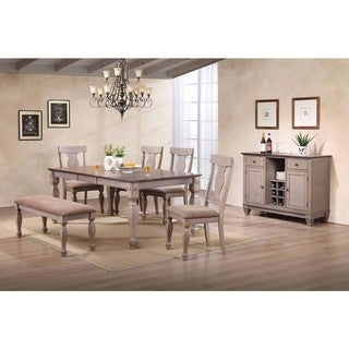 K and B Furniture Brown Wood Upholstered Dinette Dining Room Side Dining Bench