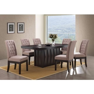 K and B Furniture Brown Fabric/Walnut Dining Chairs (Set of 2)