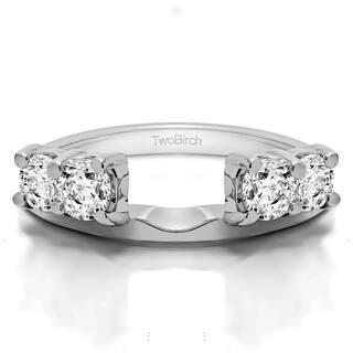 10k White Gold Traditional Style Ring Wrap Enhancer With Diamonds G H I1 I2