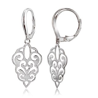 Mondevio Sterling Silver High Polished Filigree Dangle Leverback Earrings