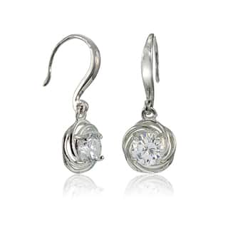 Icz Stonez Sterling Silver Cubic Zirconia Knot Dangle Earrings|https://ak1.ostkcdn.com/images/products/15030486/P21526200.jpg?impolicy=medium