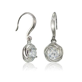 Icz Stonez Sterling Silver Cubic Zirconia Knot Dangle Earrings