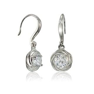 Icz Stonez Sterling Silver Cubic Zirconia Knot Dangle Earrings