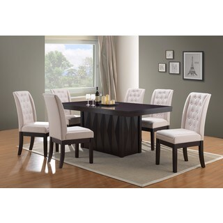 K and B Furniture Bone Fabric Wood Kitchen Dinette Dining Chairs (Set of 2)