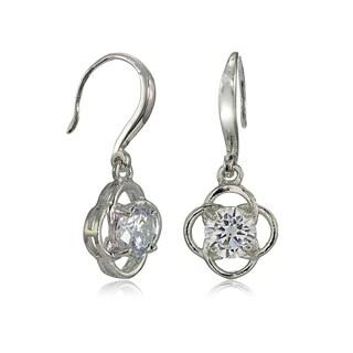Mondevio Sterling Silver Cubic Zirconia Flower Knot Dangle Earrings