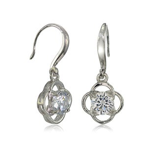 Mondevio Sterling Silver Cubic Zirconia Flower Knot Dangle Earrings