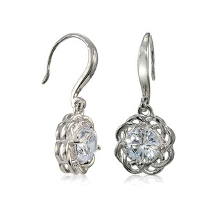 Mondevio Sterling Silver High Polished Cubic Zirconia Cletic Love Knot Earrings
