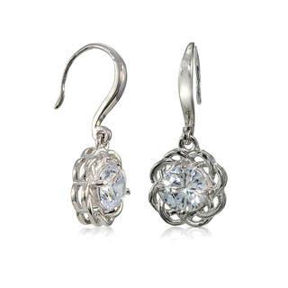 Mondevio Sterling Silver High Polished Cubic Zirconia Cletic Love Knot Earrings|https://ak1.ostkcdn.com/images/products/15030540/P21526202.jpg?impolicy=medium