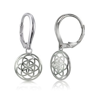 Mondevio Sterling Silver High Polished Cletic Knot Round Leverback Earrings
