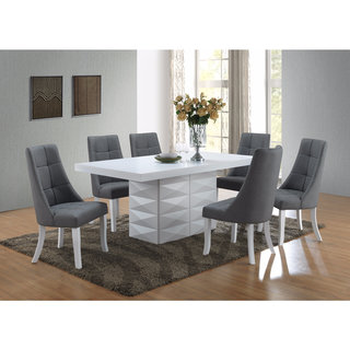 Grey Vinyl Kitchen Dinette Dining Chairs (Set Of 2)