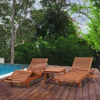 Amazonia Mariscal Natural Eucalyptus 3-piece Patio Lounger Set