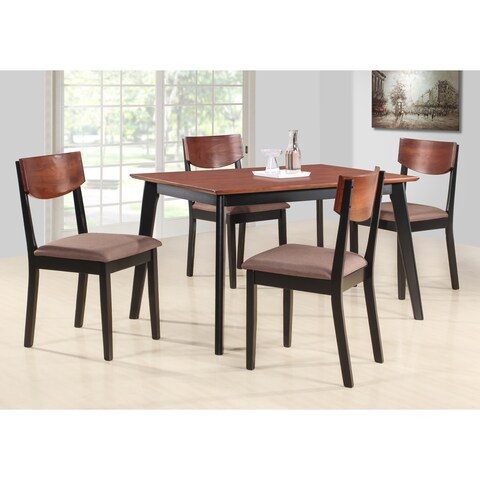 Casey Walnut/ Black Wood Rectangle Kitchen Dinette Dining Table