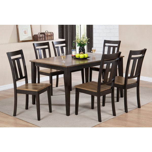 Acacia two tone black wood rectangle kitchen dinette for 2 tone dining room tables