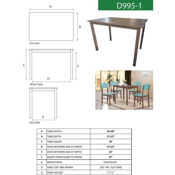 Shop K And B Furniture Co Inc Chocolate Wood Rectangular Dining Table Overstock 15030695
