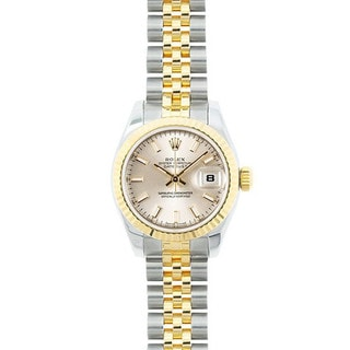 Pre-owned Rolex Mid 2000's Model 179173 Women's Datejust 18K Yellow Gold and Stainless Steel Silver Dial Watch