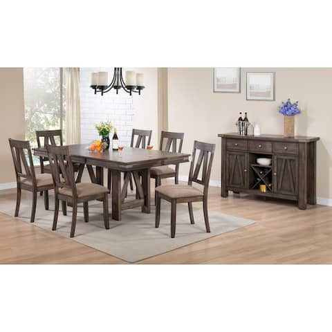 K and B Furniture Brown Wood Rectangle Dinette Dining Room Table with 18-inch Butterfly Extension Leaf