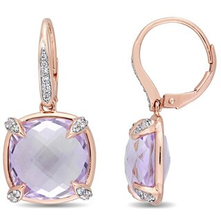Miadora Signature Collection 14k Rose Gold Rose de France White Sapphire and Diamond Leverback Earrings