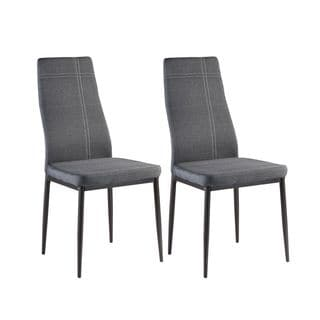 Grey Metal Frame Fabric Kitchen and Dining Chairs (Set of 2)