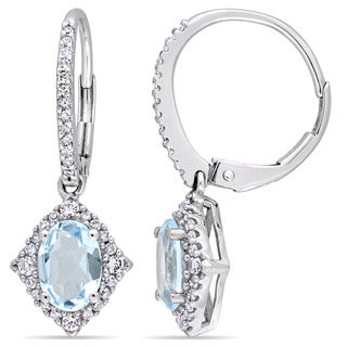 Miadora Signature Collection 10k White Gold Sky-Blue Topaz White Sapphire 1/5ct TDW Diamond Cuff Earrings