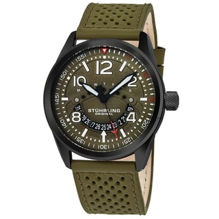 Stuhrling Original Men's Quartz Aviator Green Leather Strap Watch