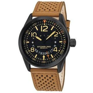 Stuhrling Original Men's Quartz Aviator Beige Leather Strap Watch