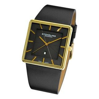 Stuhrling Original Men's Swiss Quartz Symphony Black Leather Strap Watch