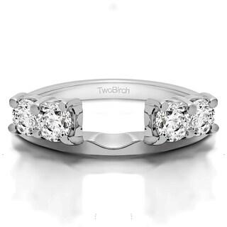 14k White Gold Traditional Style Ring Wrap Enhancer With Diamonds (G-H,I1-I2) (1 Cts., G-H, I1-I2)