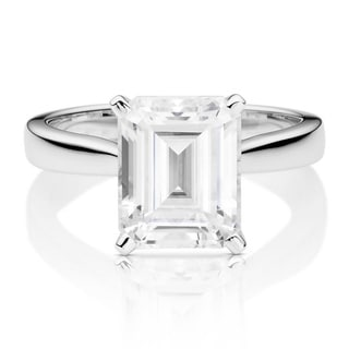 Charles   Colvard 14k White Gold 3 1 2ct DEW Emerald Cut Forever One Near Colorless Moissanite Solit