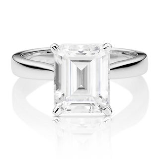 Charles & Colvard 14k White Gold 3 1/2ct DEW Emerald Cut Forever One Near Colorless Moissanite Solitaire Ring