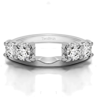 Sterling Silver Traditional Style Ring Wrap Enhancer With Cubic Zirconia (0.15 Cts.)