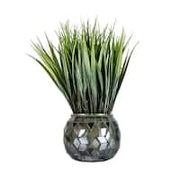 "11.75"" Tall Grass in Navy/Silver Mosaic Container - 2 Pack."