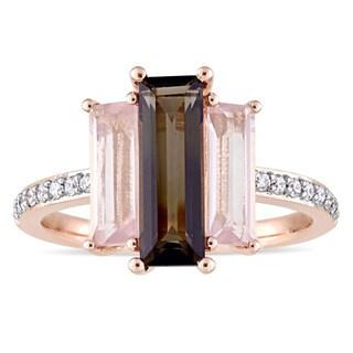 Miadora Signature Collection 14k Rose Gold Baguette-Cut Smokey Quartz Rose Quartz and 1/7ct TDW Diamond Ring