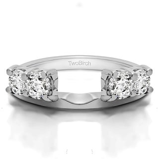 Sterling Silver Traditional Style Ring Wrap Enhancer With Cubic Zirconia (0.2 Cts.)