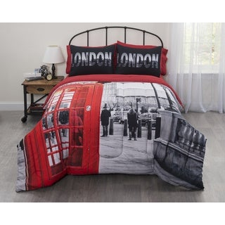 Casa Big Ben Photobooth London Bed In a Bag Bedding Set - Red/Black