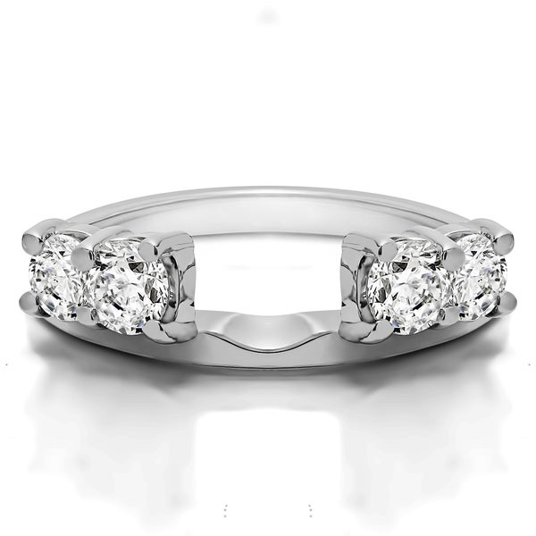 Sterling Silver Traditional Style Ring Wrap Enhancer With Cubic Zirconia 0 3 Cts